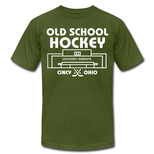 Cincinnati Gardens Old School Hockey T-Shirt (Premium Lightweight) - olive