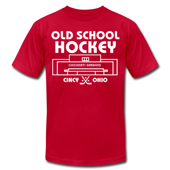 Cincinnati Gardens Old School Hockey T-Shirt (Premium Lightweight) - red