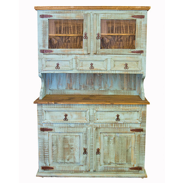 Beau Turquoise Painted Two Piece China Cabinet