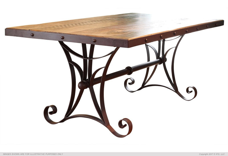 "962 ANTIQUE MULTICOLOR 79"" Dining Table w/Iron Base - KD System"