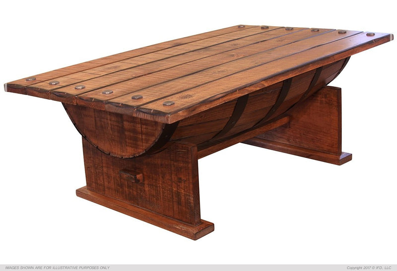 349 BOURBON Cocktail Table w/wood Barrel shape