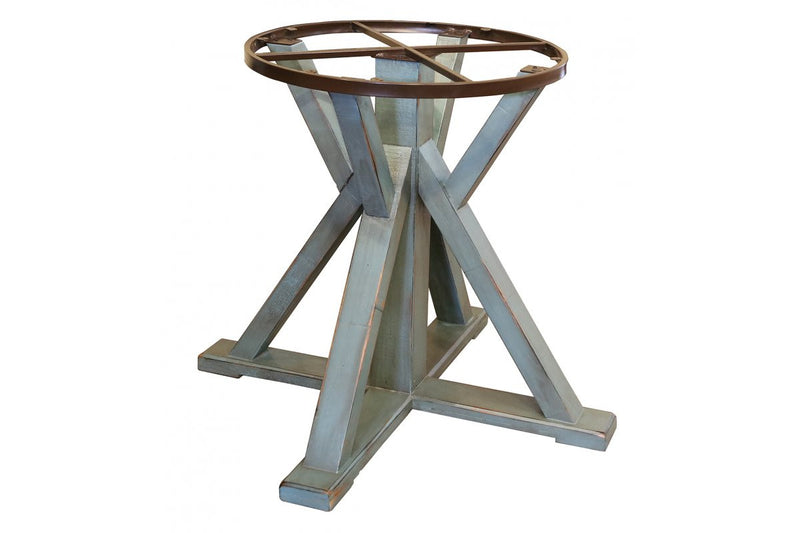 "969 ANTIQUE TEAL 51"" Round Dining Table Top w/Iron skirt & Wooden Base - Blue finish - KD System"