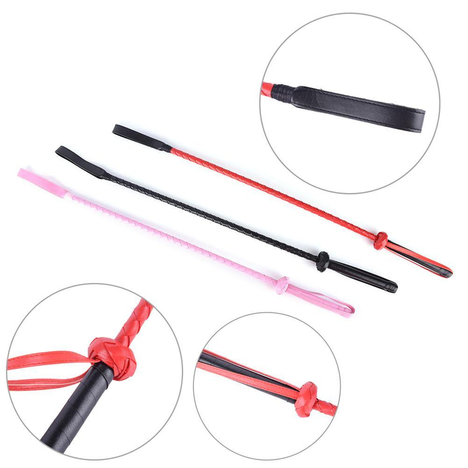 60CM Black Faux Leather Flogger SM Horse Whip Flogger Riding Crop Sex Toy Fetish Sex Products