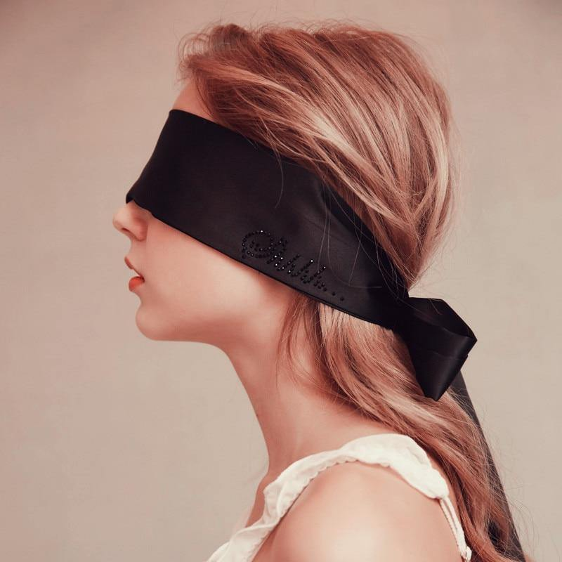 Black Eyemask For Sex Toys Sexy Satin Eye Mask Black Blindfolded Patch Fetish Game Erotic Costumes Accessories