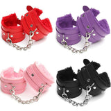 Handcuffs Restraints Bondage Tools Leather Sex Toys For Couple Black&Pink Color