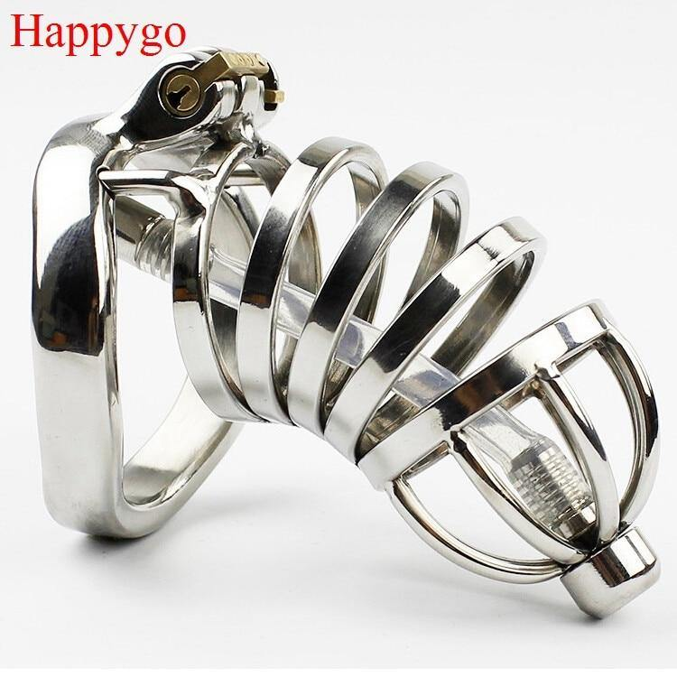 Steel Stealth Lock Male Chastity Device with Urethral Catheter,Cock Cage,virginity Belt,