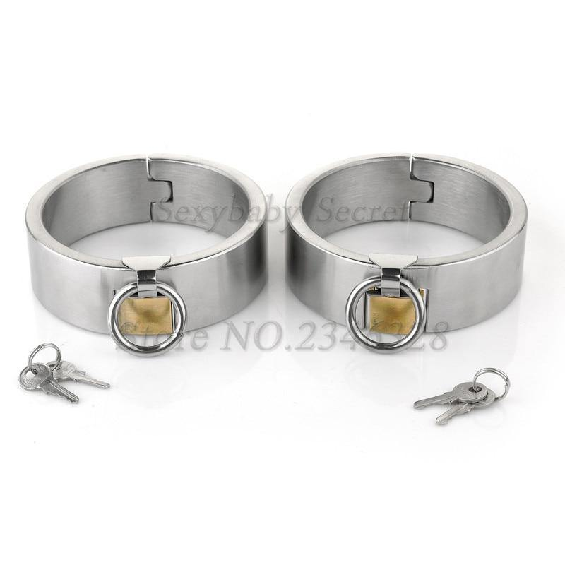 Hi-Q Stainless Steel Lockable Collar Neck Handcuffs Ankle Cuffs Fetish Slave Restraint BDSM Adult Games Sex Toys For Couples