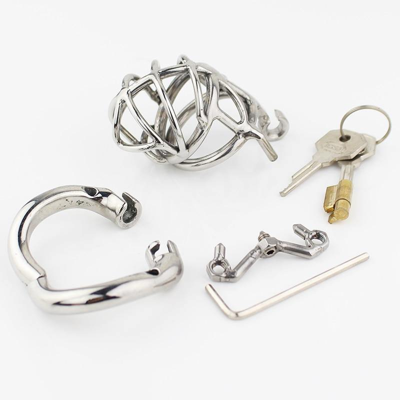 Latest Design Male Chastity Device Adult Cock Cage With Curve Cock Ring Sex Toys