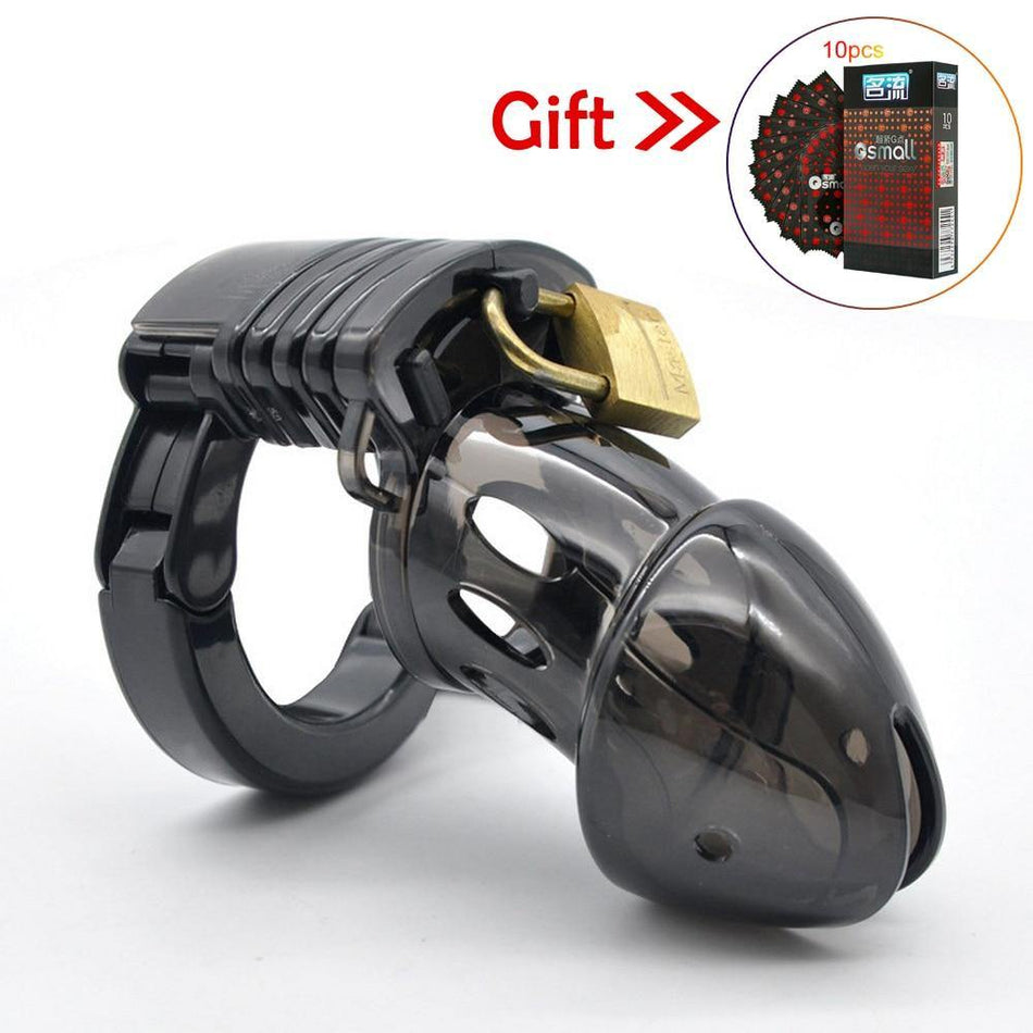 Male Chastity Cage Cock Lock Cage Sex Toys for Men Penis Belt Lock with Four Penis Rings
