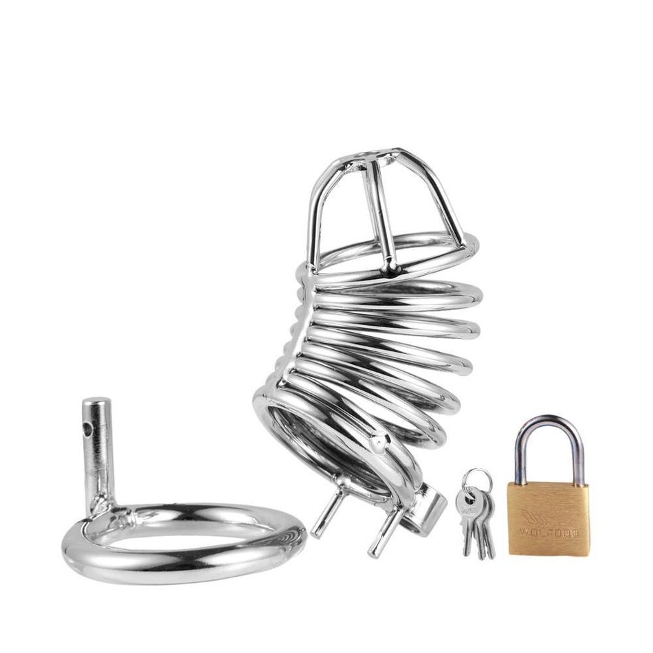 Male Steel Black Chastity Device Belt Bird Metal Cage Cock Lock