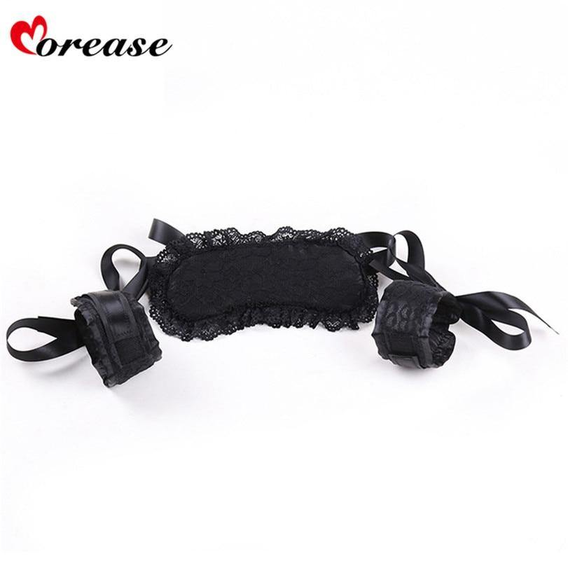 Morease Sex Toy 2pcs/set Eye Mask Handcuffs Blindfolded Erotic Fetish Flirt Bdsm for Women Couple Adult Games Bondage  Sexy Shop
