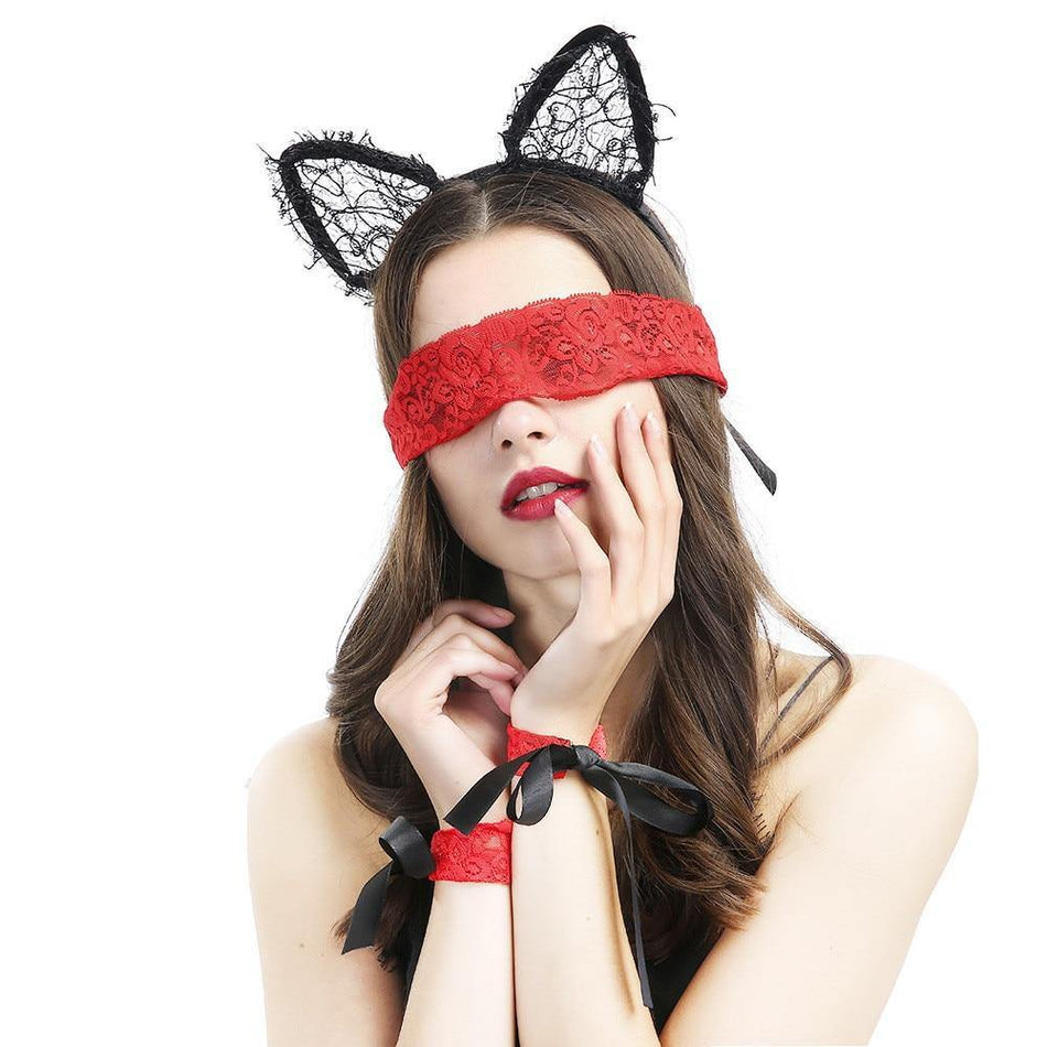 New Sexy Lace Blindfold Handcuffs Three Sets of Adult Underwear Accessories