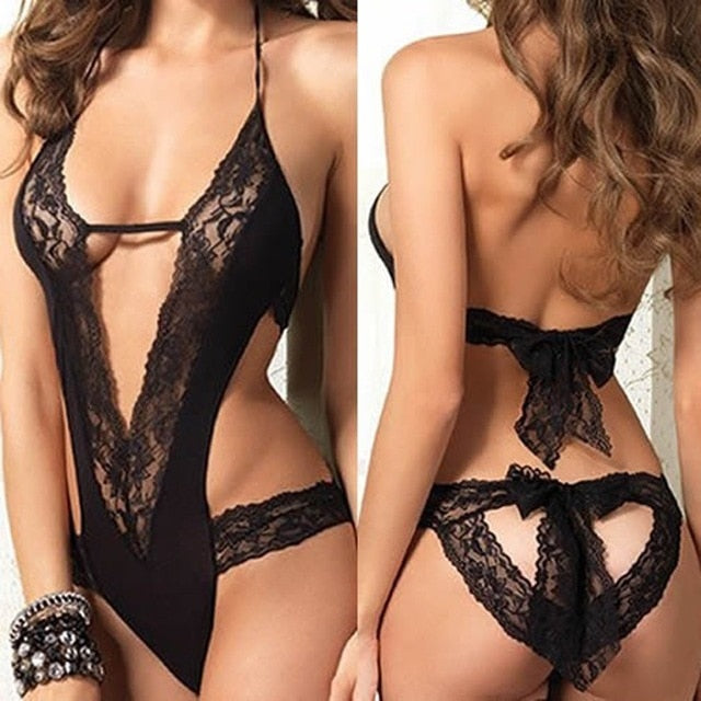 Hot Sale Women Black Lace Spliced Erotic Lingerie Costumes Babydoll Nightwear