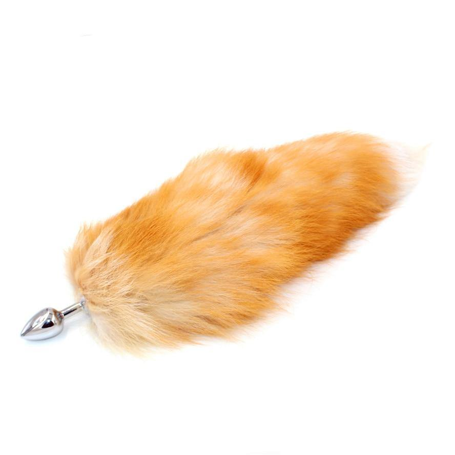 Fox Tail Anal Plug With Big Real Crystal Fox Tails