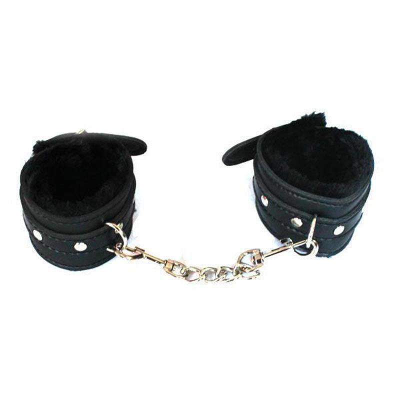 Sexy Adjustable Leather Plush Handcuffs Ankle Cuff Restraints BDSM