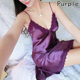 Sexy Lingerie Satin Babydoll Nightdress Women Lace Slip Sleepwear