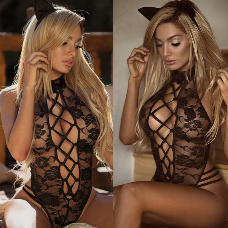 Sexy Womens Lingerie Babydoll Lace Bodysuit Black G-string Sleeveless Sleepwear Teddies