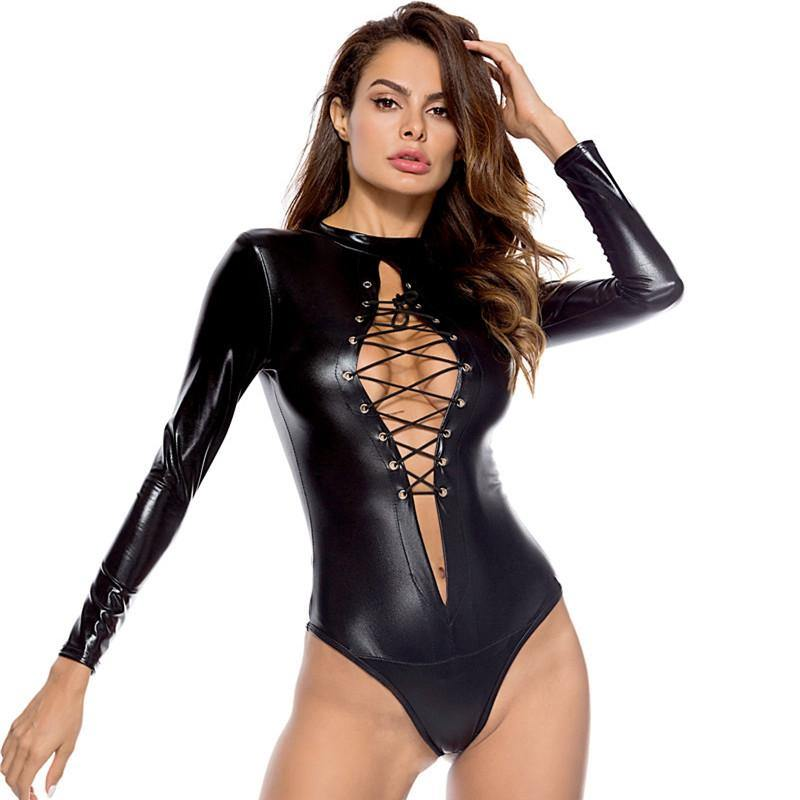 Sexy Wet look Lingerie Women Lace Up Latex Catsuit Erotic Body Suit Plus Size