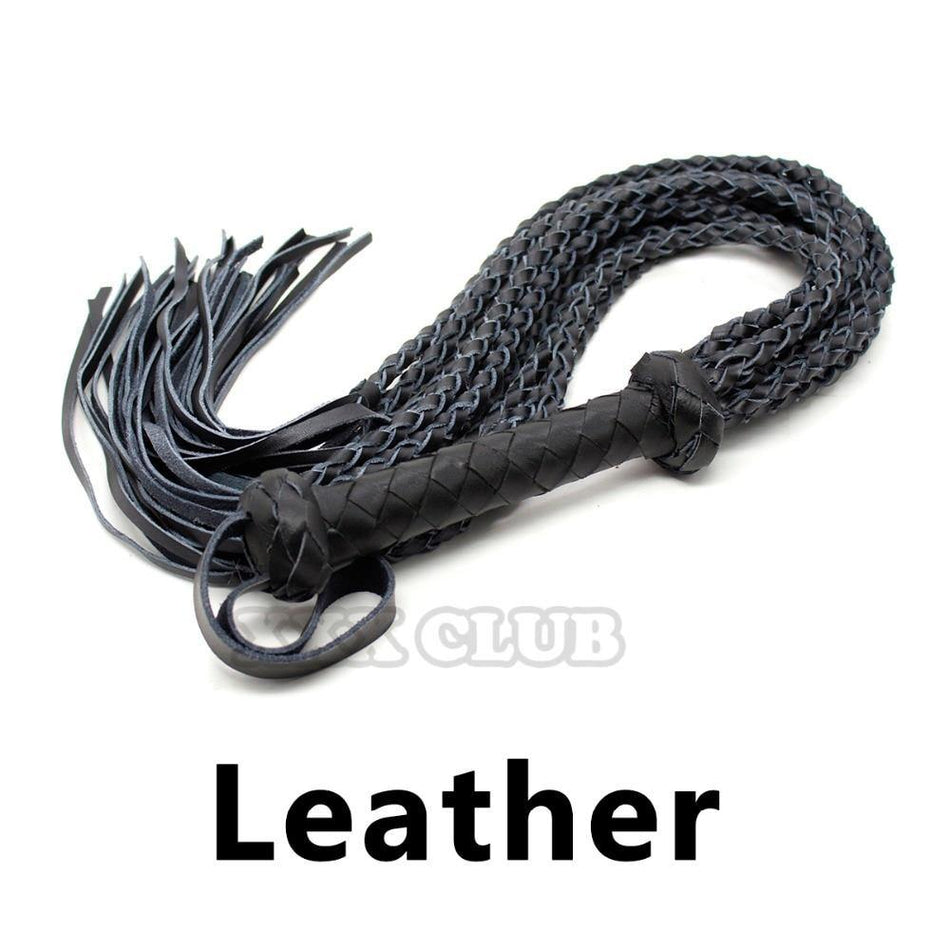 Leather Whip Braid Flogger Riding Crop Sex Aid Spanking Bondage for couple