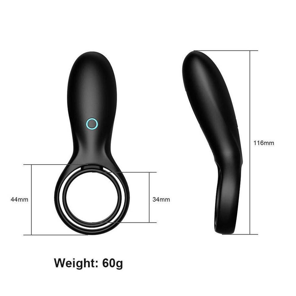 Vibrating Penis Ring with Testicle Ring Double Cock Ring Clit Vibrator for Couple