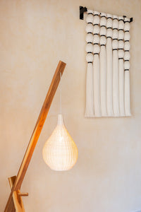 Teak wood and natural wicker floor lamp - Desde mi espacio - ARTIGIANO