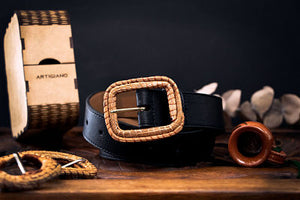 Vegan cactus leather black belt with exclusive ocoxal buckle