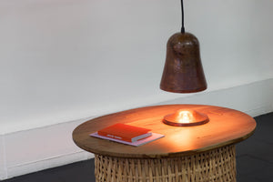 Copper hanging lamp with copper platter - Pleyades - ARTIGIANO