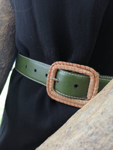 Vegan cactus leather green belt with exclusive ocoxal buckle