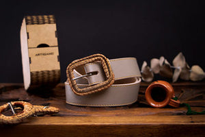 Vegan cactus leather nude belt with exclusive ocoxal buckle