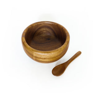 "6"" Acacia Wood Smoothie Bowl + Spoon - ARTIGIANO"