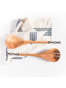 Kamba Bone and Olive Wood Salad Servers - ARTIGIANO