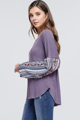 Boho Style Bishop Sleeve Top - Lavender