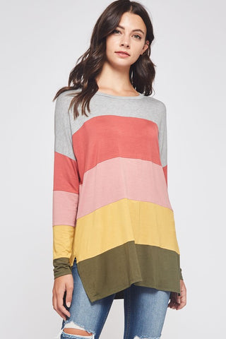 Color Block Tunic Top