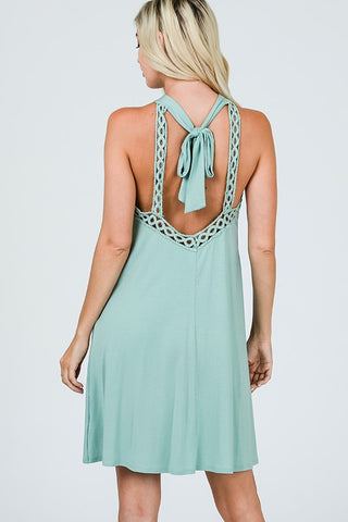 Halter Lace Dress -  Sage