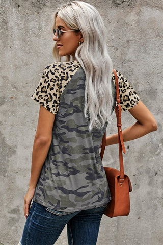 Leopard and Camo Short Sleeve Top