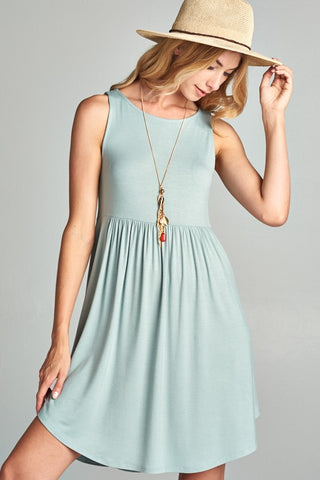 Simple Spring Tank Style Dress - Sage