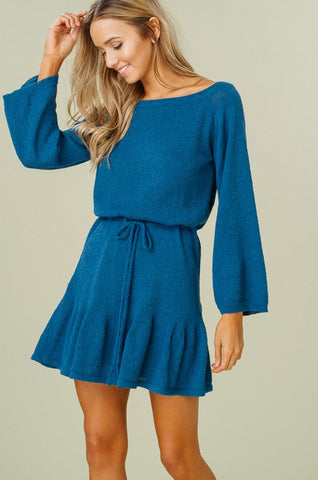 Flouncy Sweater Dress - Teal