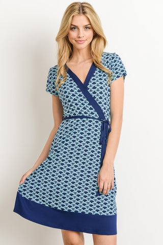 Faux Wrap Short Sleeve Dress - Navy and Jade