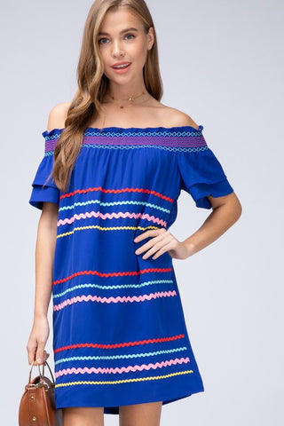 Ribbon Trimmed Off Shoulder Dress - Royal