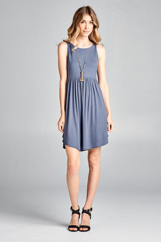 Simple Tank Style Dress - Titanium