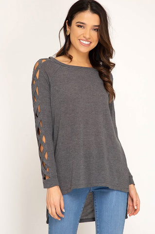 Autumn Getaway Strappy Sleeve Top - Charcoal