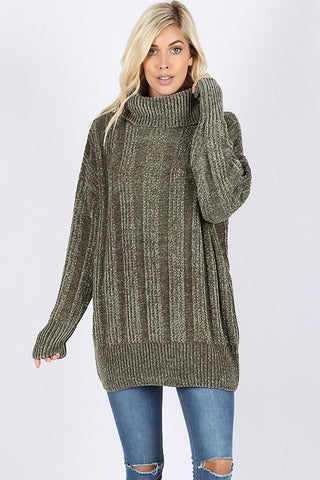 Chenille Cowl Neck Sweater - Olive
