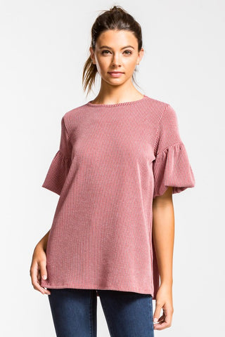 Half Puff Sleeve Top - Mauve