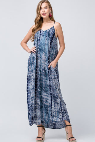 Tie Dye Flowy Maxi Dress - Blue
