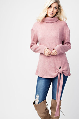 Cowl Neck Tie Top - Mauve