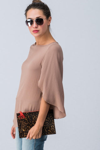Fall Flare Top - Taupe
