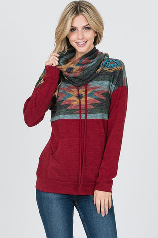 Aztec Cowl Neck Top - Burgundy