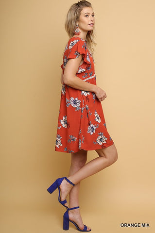 Floral Babydoll Dress - Orange Mix