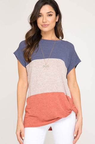 Color Block Twist Tops - Navy and Coral
