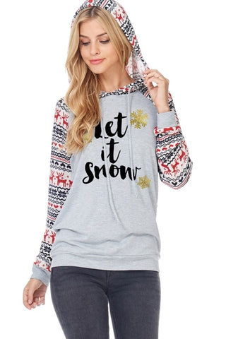 Let it Snow Reindeer Sleeve Hoodie - Gray